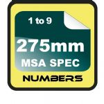 275mm (27.5cm)Race Numbers MSA SPEC (1 to 9)